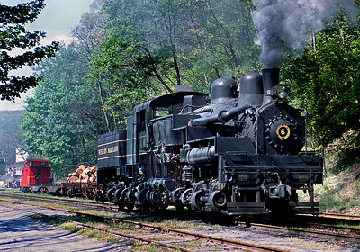 Big 6 was moving around when we got there.  This was the biggest Shay ever built, delivered to the Western Maryland in 1945 to hand loads of coal on a branch with up to 9 percent grades.   But it was in service only several years before being retired.