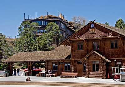 The former ATSF depot at Grand Canyon with the El Tovar Hotel behind it.  In the old days Pullmans from Chicago and Los Angeles would arrive at the station and passengers would walk up to the hotel (with porters hauling the bags of course).