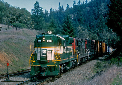 Cresting the summit at Ridge.  CFNR 200 was a former DM&IR unit leased to Cal Northern by GATX.