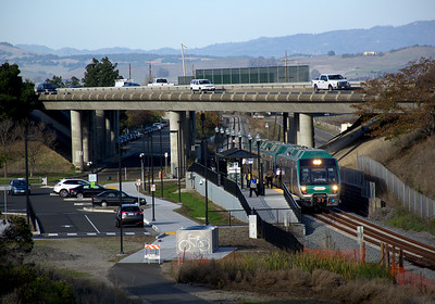 December 1, 2017.   A southbound train stops at Novato San Marin station.