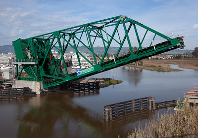 The new bridge over the Petaluma River at Haystack.  This was a used bridge acquired from the Galveston, Texas area to replace the original NWP swing bridge at this location.