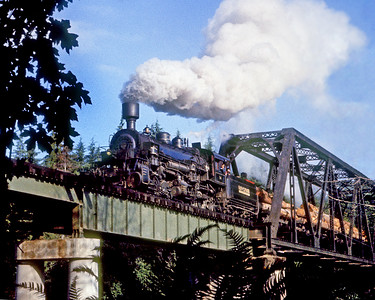 July 1961.  In early morning light Rayonier 14, a Baldwin 2-6-6-2 compound articulated mallet, heads south from Crane Creek reload toward the tide water log dump near Hoquiam some 40 miles away. This was the last major steam powered logging railroad in the Pacific Northwest. This is another one of those old Anscochromes that has been given some semblance of life by Photoshop.