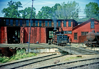 1958.  Ten wheeler No. 3, the movie queen, simmers outside the Jamestown roundhouse. This facility is now part of the California State Railroad Museum and looks about the same today as it did 50 plus years ago. Another one of those old Anscochromes saved by Photoshop.