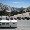 Looking down on the carpark with the back of Half Dome in the distance.