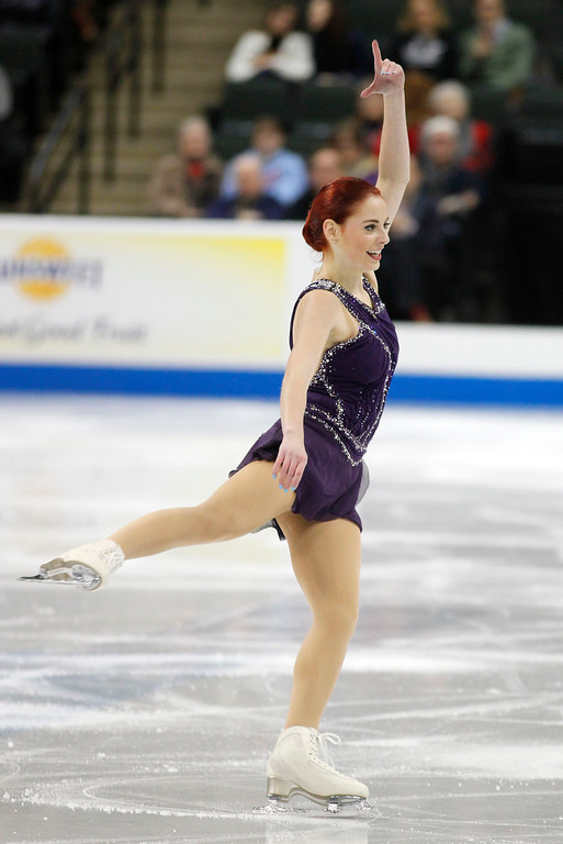 . Carly Gold skates in the women\'s short program during the U.S. Figure Skating Championships, Thursday, Jan. 21, 2016, in St. Paul, Minn. (AP Photo/Andy Clayton-King)