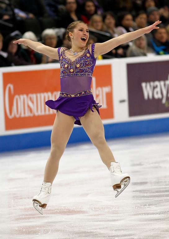 . Hannah Miller skates in the women\'s short program during the U.S. Figure Skating Championships, Thursday, Jan. 21, 2016, in St. Paul, Minn.(AP Photo/Andy Clayton-King)