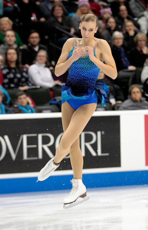 . Polina Edmunds skates in the women\'s short program during the U.S. Figure Skating Championships, Thursday, Jan. 21, 2016, in St. Paul, Minn.(AP Photo/Andy Clayton-King)