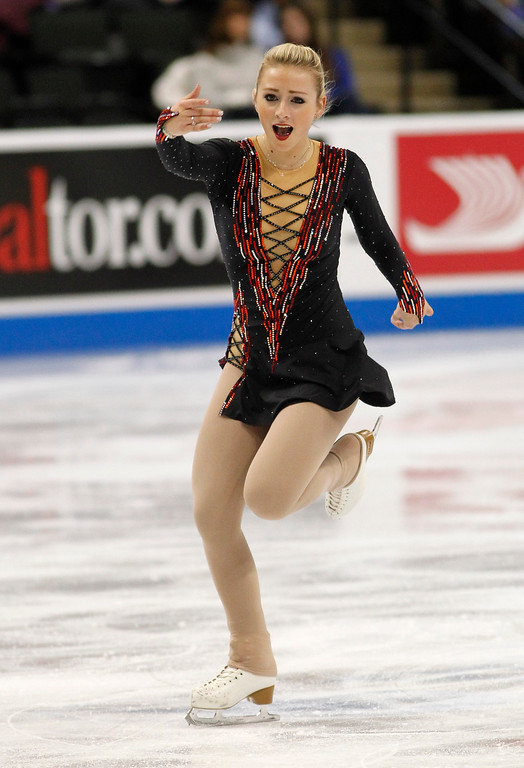 . Franchesca Chiera skates in the women\'s short program during the U.S. Figure Skating Championships, Thursday, Jan. 21, 2016, in St. Paul, Minn. (AP Photo/Andy Clayton-King)