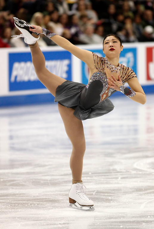. Mirai Nagasu skates in the women\'s short program during the U.S. Figure Skating Championships, Thursday, Jan. 21, 2016, in St. Paul, Minn. (AP Photo/Andy Clayton-King)
