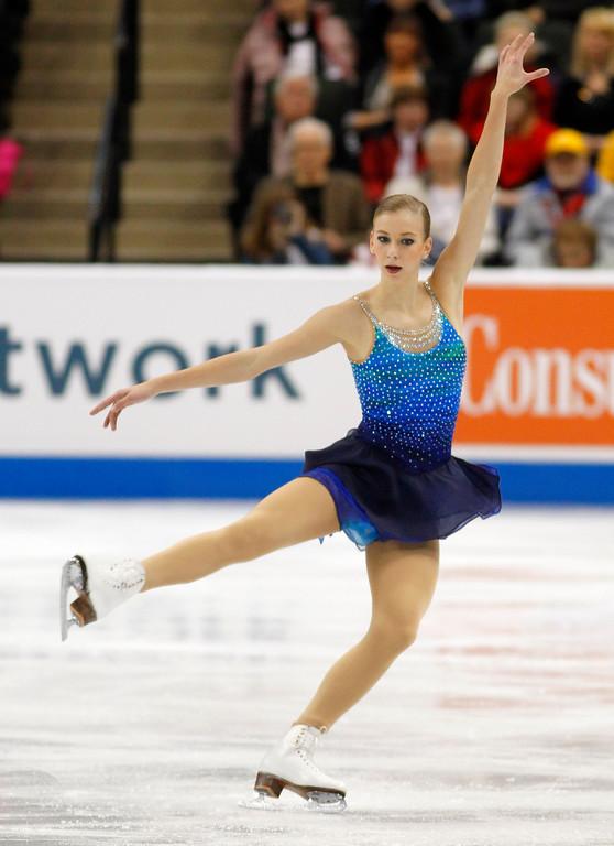 . Polina Edmunds skates in the women\'s short program during the U.S. Figure Skating Championships, Thursday, Jan. 21, 2016, in St. Paul, Minn. (AP Photo/Andy Clayton-King)