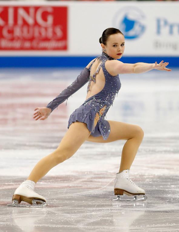 . Mariah Bell skates in the women\'s short program during the U.S. Figure Skating Championships, Thursday, Jan. 21, 2016, in St. Paul, Minn. (AP Photo/Andy Clayton-King)