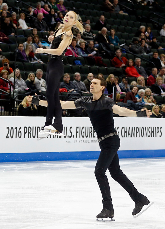 . Pairs skaters Alexa Scimeca, top, and Christopher Knierim perform in the short program of the U.S. Figure Skating Championships, Thursday, Jan. 21, 2016, in St. Paul, Minn. (AP Photo/Jim Mone)