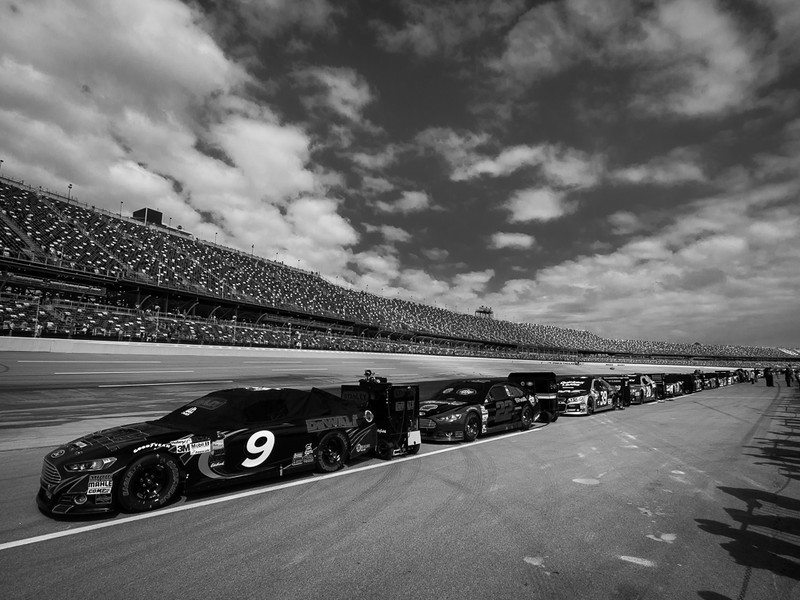 Cars lines up before the NASCAR race at Talladega