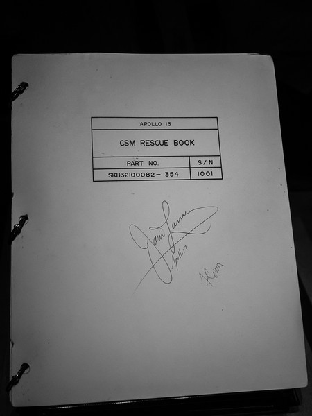 Apollo 13 Rescue book used by Mission Control (signed by Jim Lovell), just in case something goes wrong!