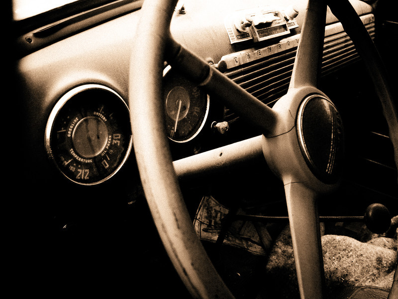 Interior of an old car seen in Atlanta