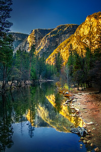 Dusk in Yosemite, California.