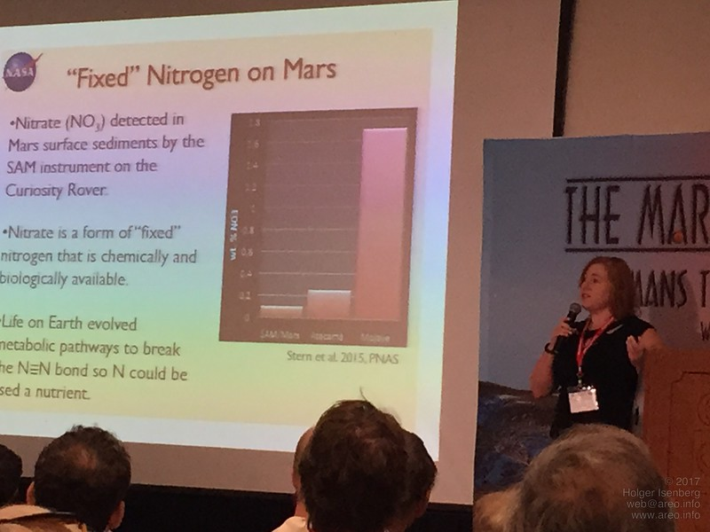 Jennifer Stern, Space Scientist at NASA Goddard Spaceflight Center, talks about the results of the Curiosity Rover's gas chromatography and mass spectrometer for soil analysis. For instance, nitrate was found in a state available for plants.