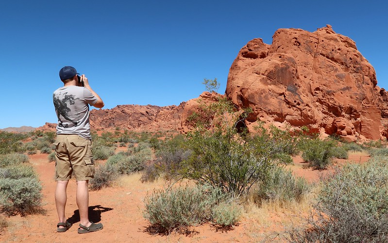 Taking photos of the red sandstone boulders at Valley of Fire.