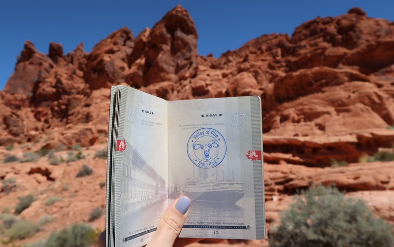 Getting a passport stamp at Valley of Fire