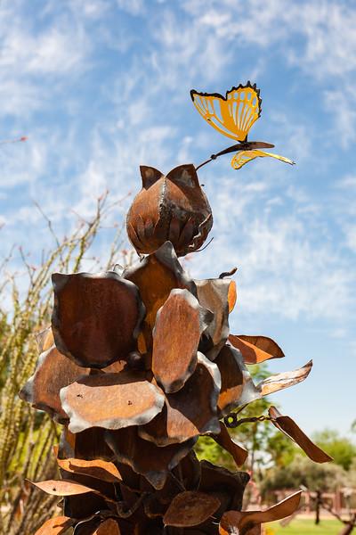 """Shemer Art Center - Phoenix, AZ<br /> """"Bud & Butterfly"""" by Joe Tyler in Welded Steel ($2500)"""