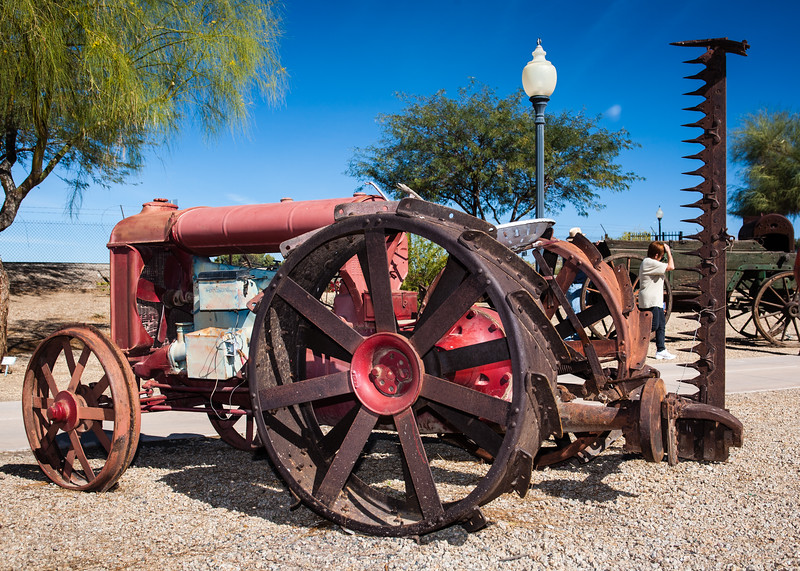 "</font> <a href=""http://azstateparks.com/Parks/YUQU/index.html""> <font color=""Aqua""> Yuma, AZ-Quartermaster Depot </a> </font> Fordson Tractor  Answers:  Tree on Left, Tree on Right, Lamp & Post, Tractor Seat, Tool Box, Radiator Fan Big Wheel Spokes, Little Wheel Center Hub,  Box on Side of Engine, Man, Woman"