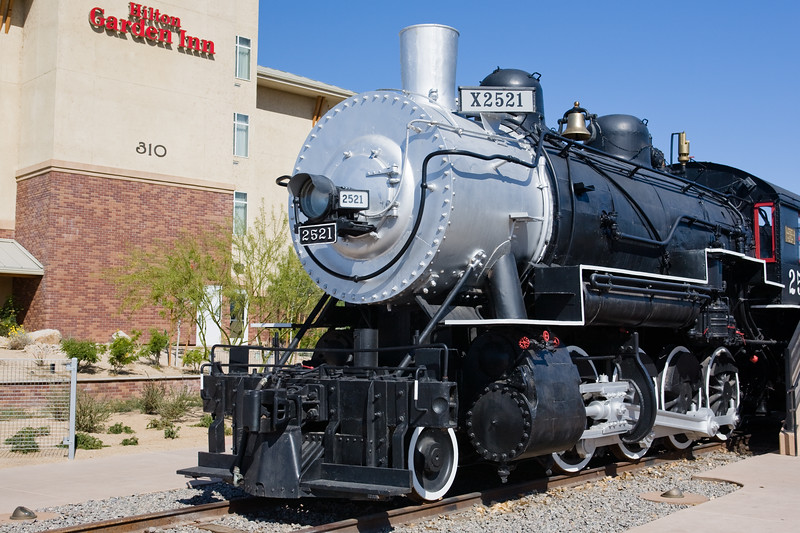 """AZ-Yuma-Locomotive 2521-2011-03-13-0001  <font color=""""Yellow""""> Link to more </font> <a href=""""http://yumamodelrailroaders.org/southern_pacific_railroad_steam_locomotive_2521"""">  Information </a>."""
