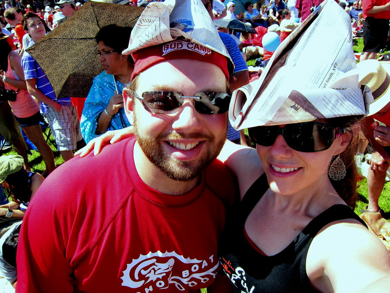 Me and my brother with our paper hats. Thanks, Globe & Mail!