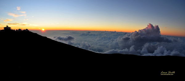 Panorama sunset at Haleakala observatory Hawaii Maui sig