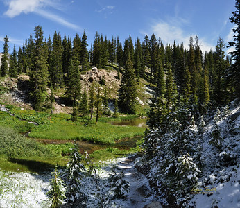 Snowy Range, summer and winter meet in August, panorama, WY sig