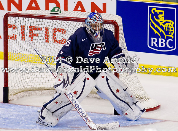 John Gibson (USA - 35) - The Russian National Junior Team defeated the 2012 U.S. National Junior Team 6-3 in a preliminary game December 20, 2011, at the ENMAX Centrium in Red Deer, Alberta, Canada.
