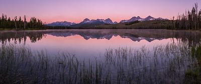 Sawtooth Mountains reflect in Little Redfish Lake, Stanley, Idaho
