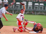 Michele Smith, #32, slides into second and is called out.  Lourdes Baez, #7, is at second base.  7/21/96. CREDIT: V.J. Lovero