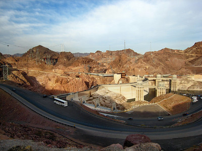 Hoover Dam on border of Nevada and Arizona - New highway bridge under construction will replace highway over the dam in 2011.