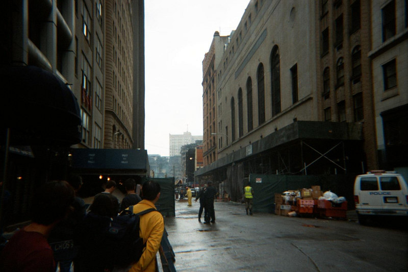 Street looking toward WTC with smoke ground zero