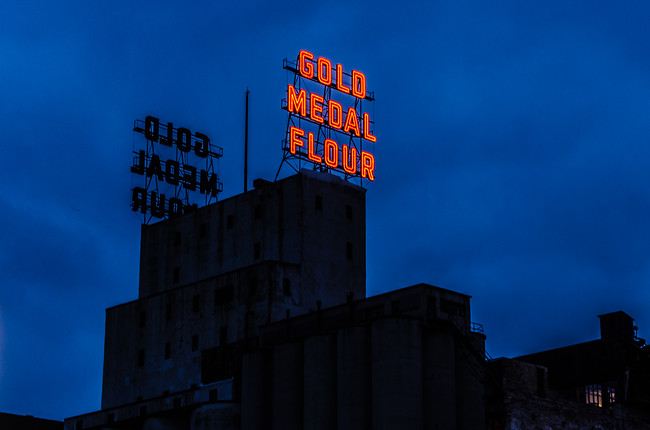 Gold Medal Flour building at dusk Minneapolis