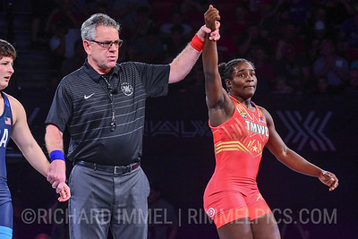 68 kg: Tamyra Stock (Titan Mercury WC) tech. fall Randi Beltz (U.S. Army), 10-0