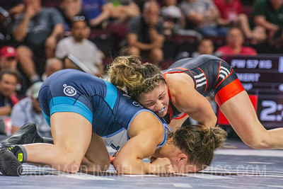 57 KG: Jenna Burkert Colorado Springs, CO (U.S. Army WCAP) VPO Becka Leathers Choctaw, OK (Titan Mercury Wrestling Club), 5-0
