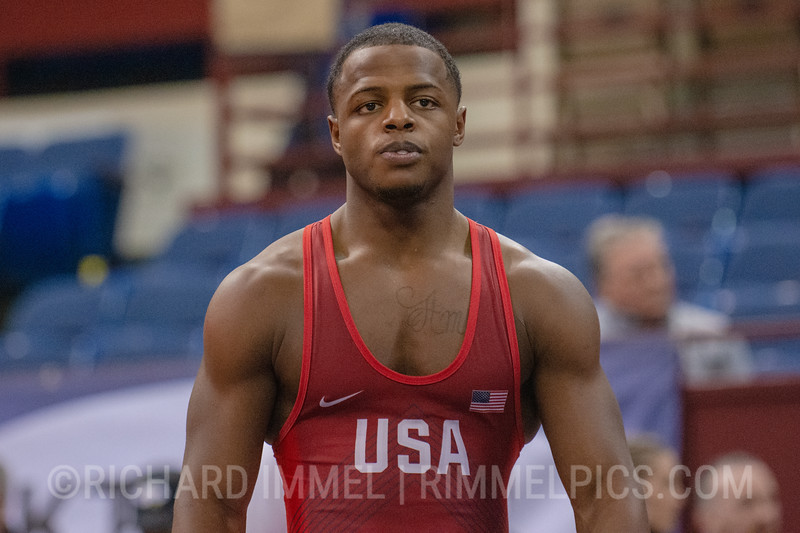 77 kg: Kamal Bey (Sunkist Kids Wrestling Club) tech. fall Alex Mossing (Air Force Regional Training Center), 10-1