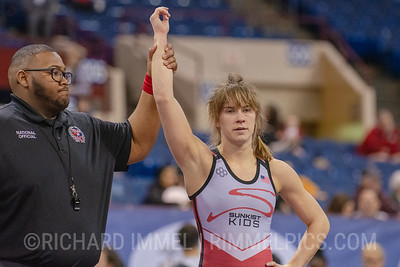 53 kg: Dominique Parrish (Sunkist Kids Wrestling Club) tech. fall Charlotte Fowler (Tiger WC), 10-0