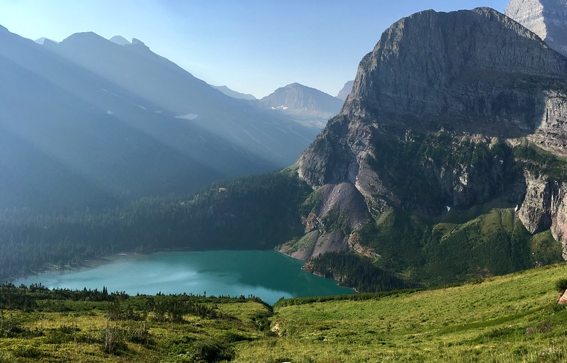 Morning rays onto Grinnell lake