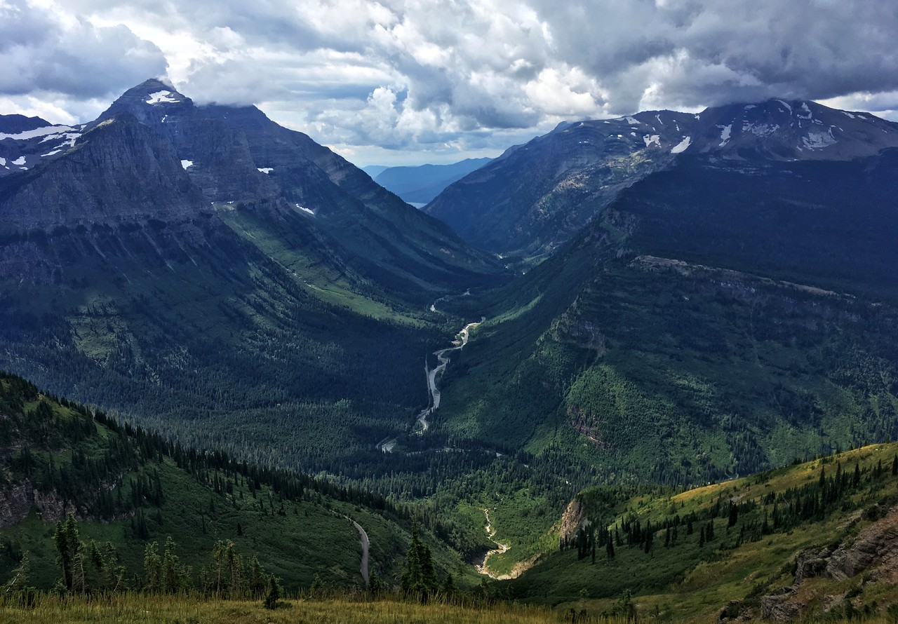 Can see the Going-to-the-Sun Road along the valley floor