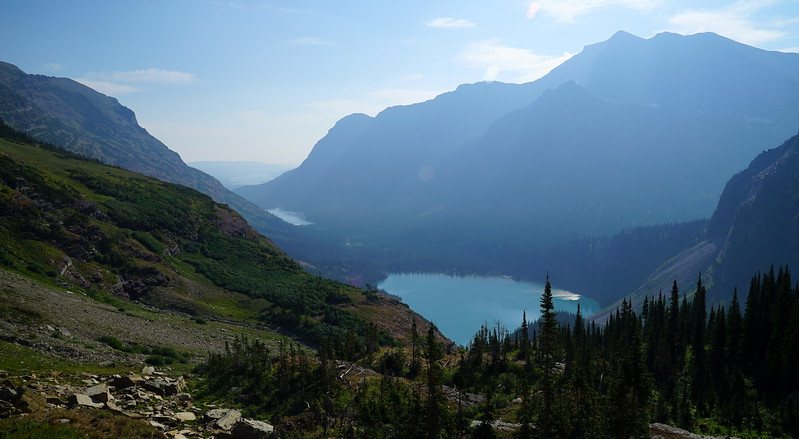 Lake Josephine and Grinnell Lake in morning light