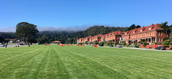 Fog above Presidio, but officer's quarters are nice and sunny