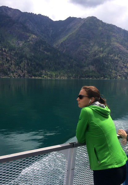 Yuliya enjoying her audiobooks on our river cruise