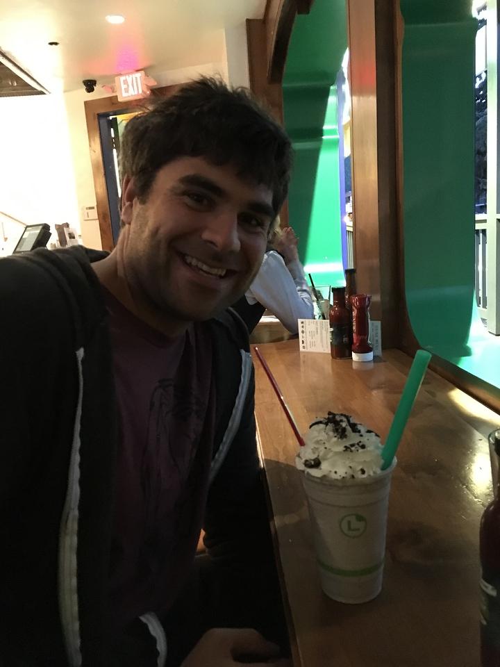 Happy Graham with his milk shake