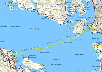 """Aujourd'hui, nous prenons un des tout premier ferry ( vers 8h 30) pour le """"continent"""", arrivée au nord de Vancouver à Horseshoe bay Nous partons de  Departure Bay Ferry Terminal Stewart Ave Nanaimo, British Columbia, Canada"""