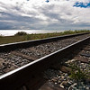 The Alaska Railroad, the Turnagain Arm and on the horizon, Anchorage