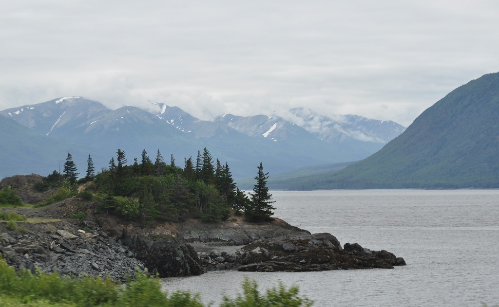 View driving Turnagain Arm in Alaska
