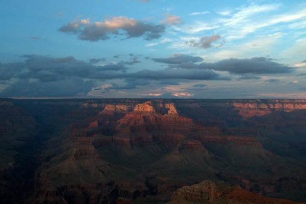 Grand Canyon view from the South Rim at sunset