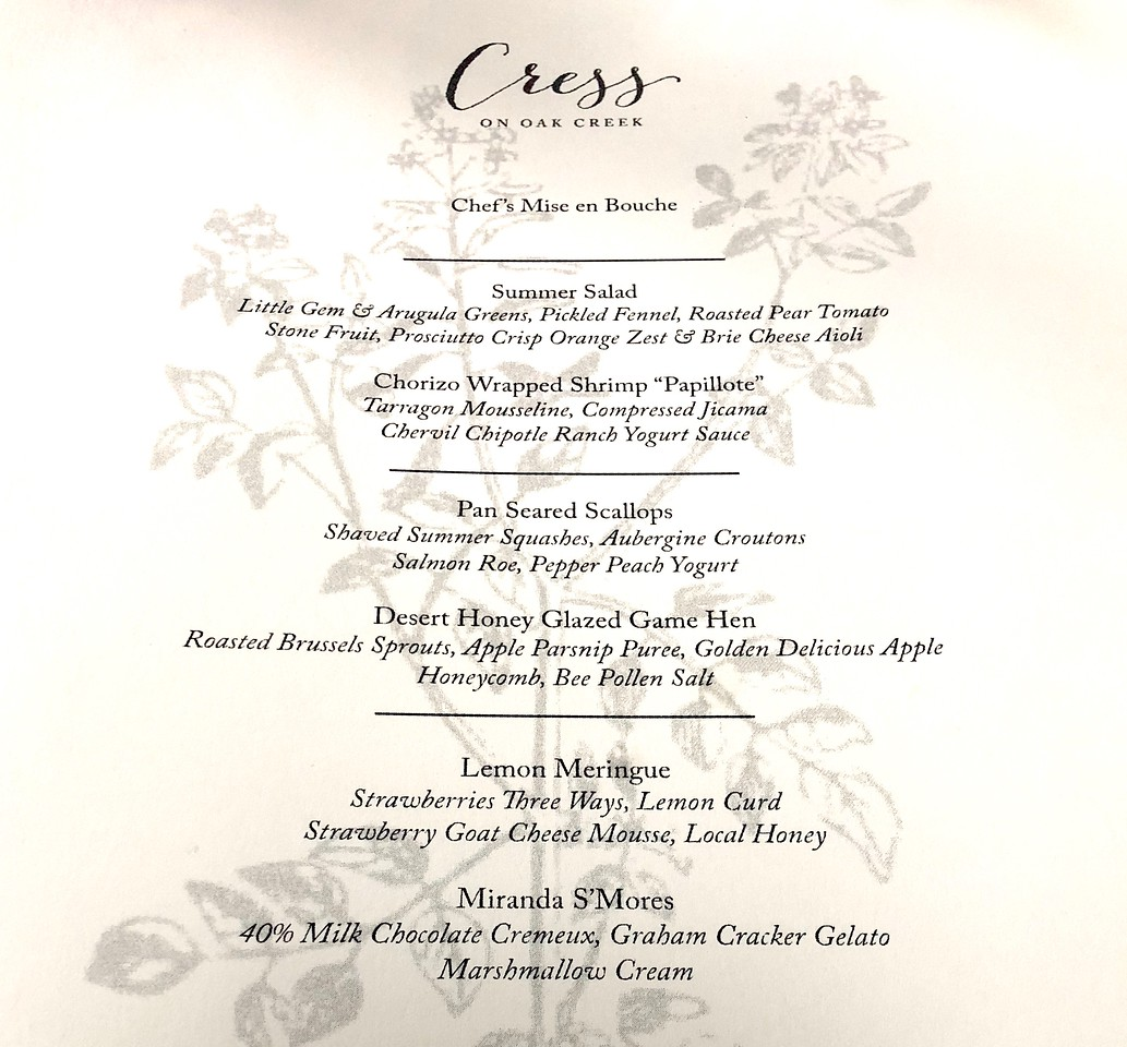 Cress on Oak Creek Menu